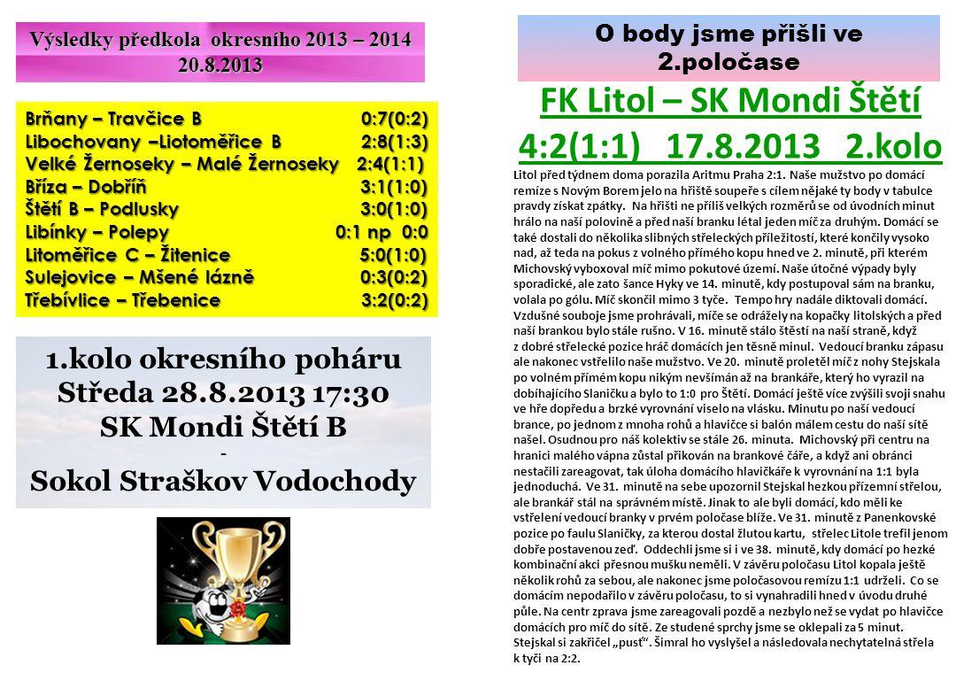 FK Litol – SK Mondi Štětí 4:2(1:1) 17.8.2013 2.kolo