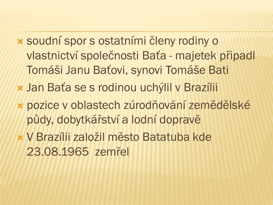 soudní spor s ostatními členy rodiny o vlastnictví společnosti Baťa - majetek připadl Tomáši Janu Baťovi, synovi Tomáše Bati