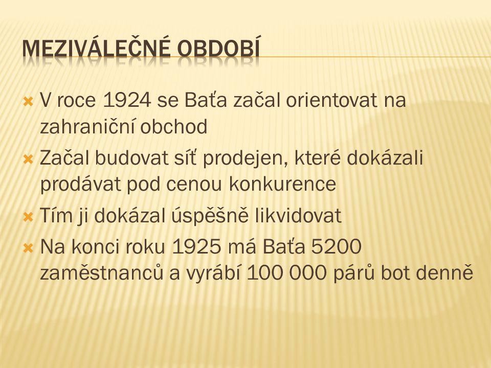Meziválečné období V roce 1924 se Baťa začal orientovat na zahraniční obchod.
