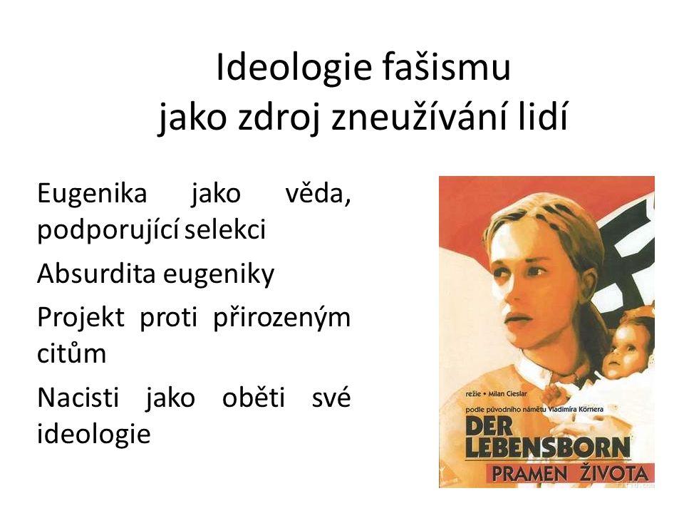 Ideologie fašismu jako zdroj zneužívání lidí