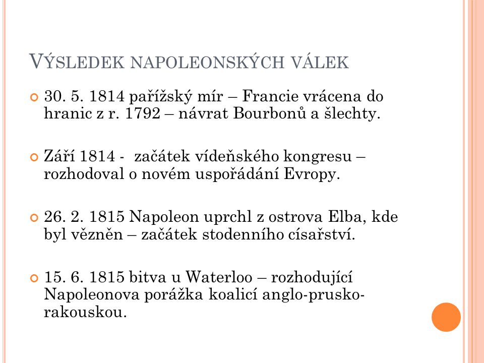 Výsledek napoleonských válek