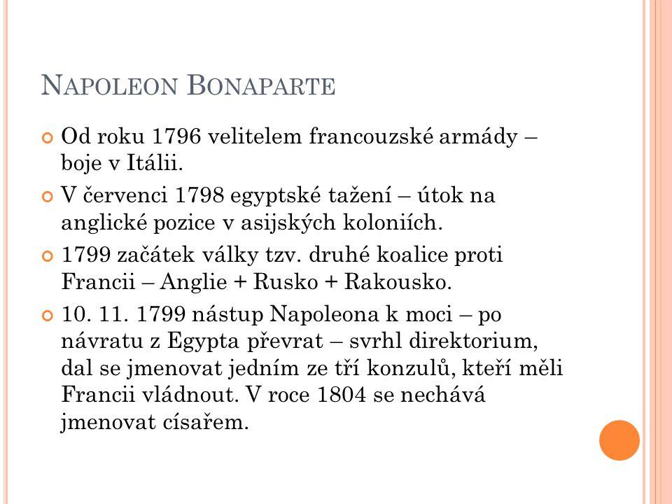 Napoleon Bonaparte Od roku 1796 velitelem francouzské armády – boje v Itálii.