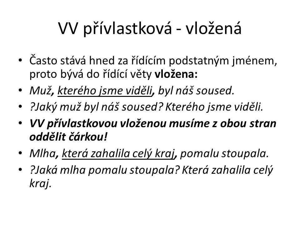 VV přívlastková - vložená