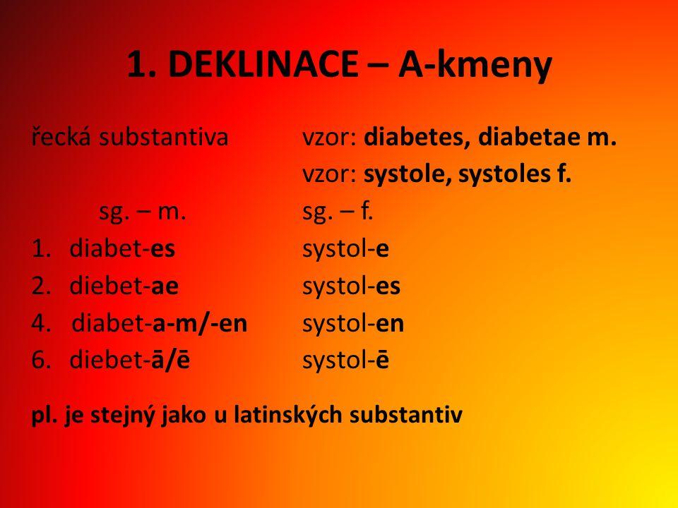 1. DEKLINACE – A-kmeny řecká substantiva vzor: diabetes, diabetae m.