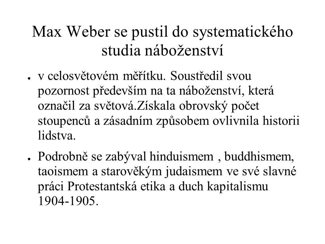 Max Weber se pustil do systematického studia náboženství