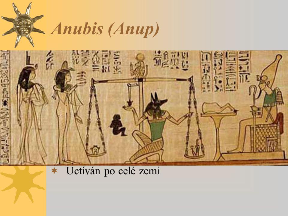 Anubis (Anup) Vyobrazován jako ležící šakal nebo jako muž se šakalí hlavou. Jeho emblémem byla berla s vycpanou kůží bezhlavého zvířete.