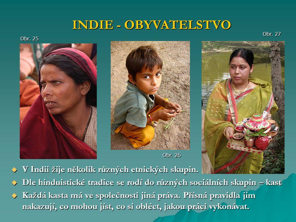INDIE - OBYVATELSTVO V Indii žije několik různých etnických skupin.