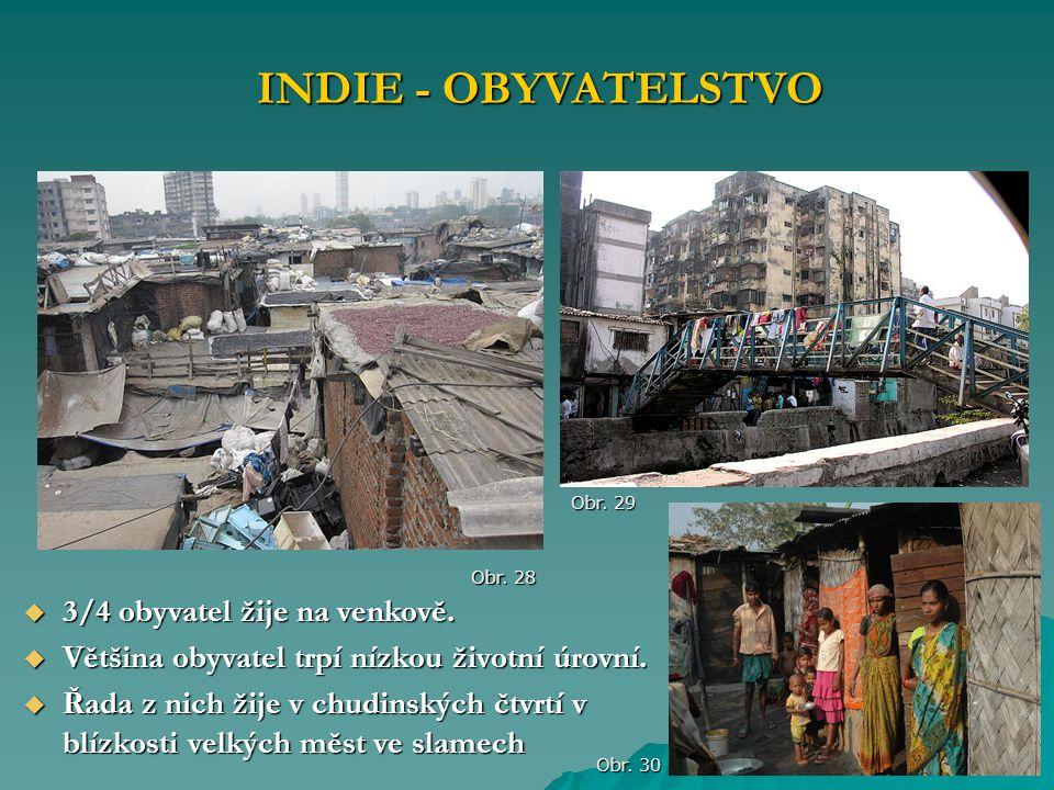 INDIE - OBYVATELSTVO 3/4 obyvatel žije na venkově.