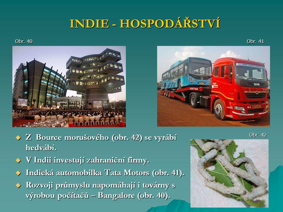 INDIE - HOSPODÁŘSTVÍ Z Bource morušového (obr. 42) se vyrábí hedvábí.