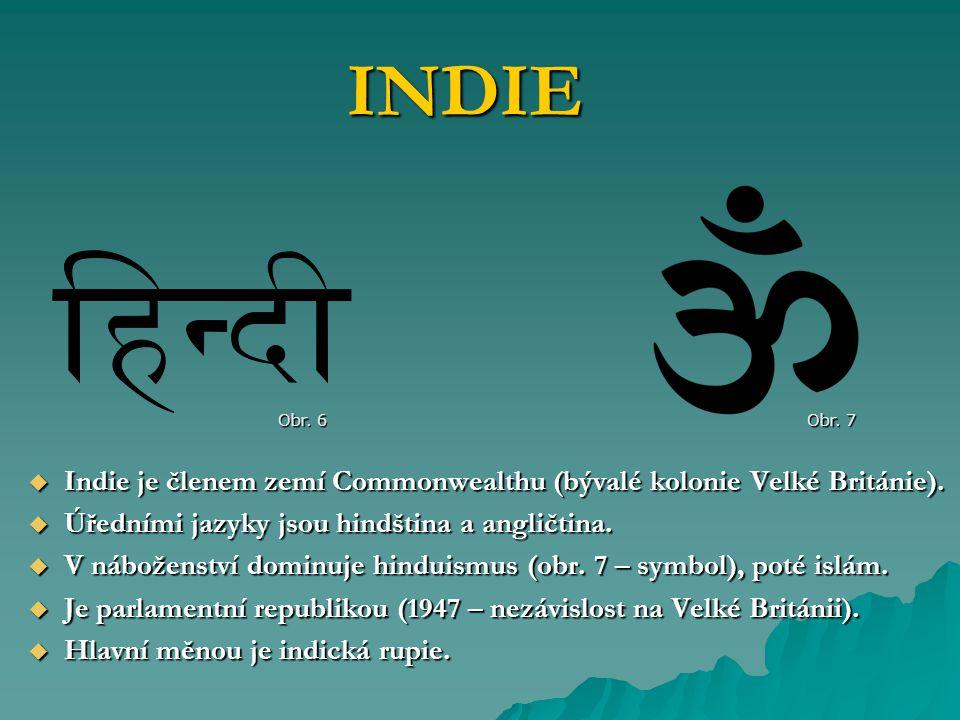 INDIE Obr. 6. Obr. 7. Indie je členem zemí Commonwealthu (bývalé kolonie Velké Británie). Úředními jazyky jsou hindština a angličtina.