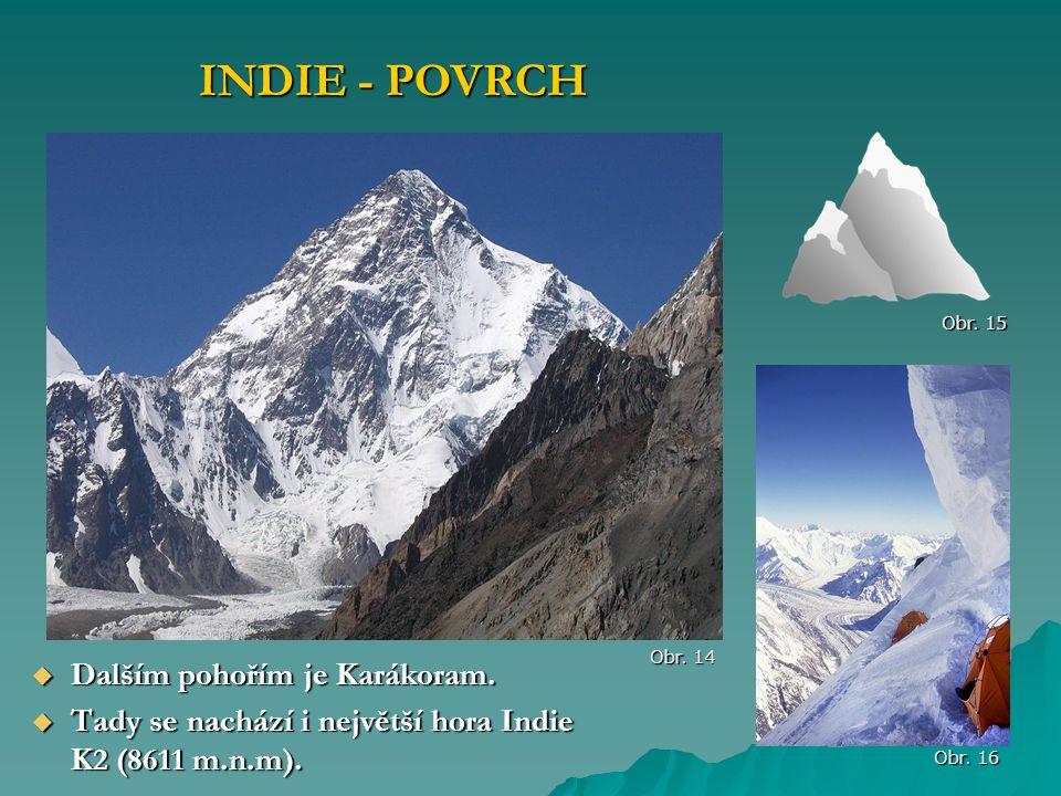 INDIE - POVRCH Dalším pohořím je Karákoram.