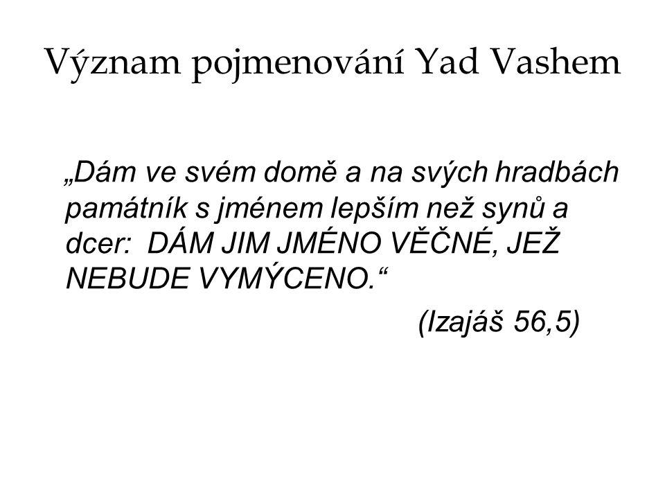 Význam pojmenování Yad Vashem