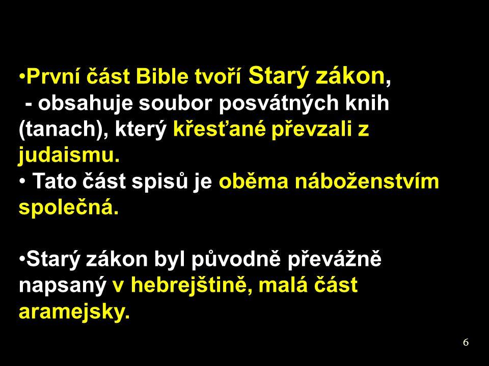 První část Bible tvoří Starý zákon,