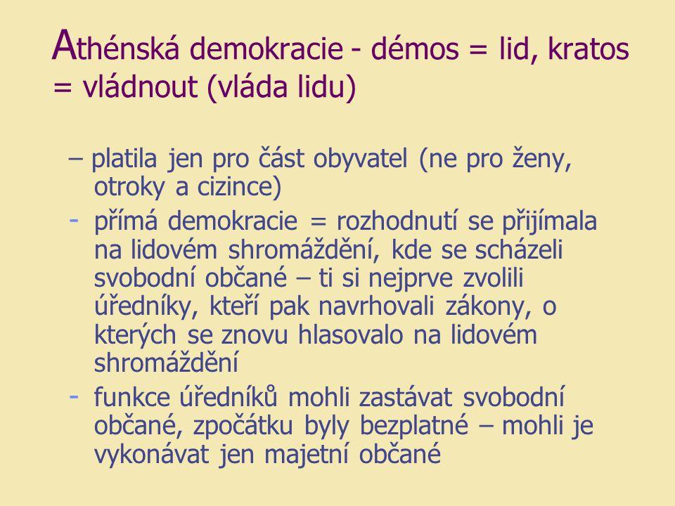 Athénská demokracie - démos = lid, kratos = vládnout (vláda lidu)