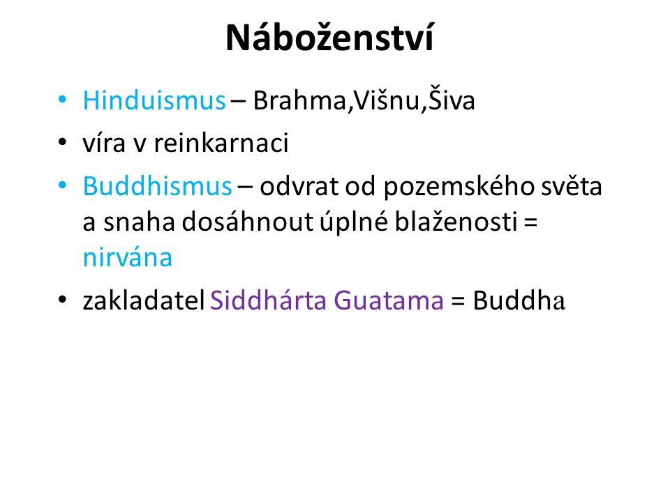 Náboženství Hinduismus – Brahma,Višnu,Šiva víra v reinkarnaci