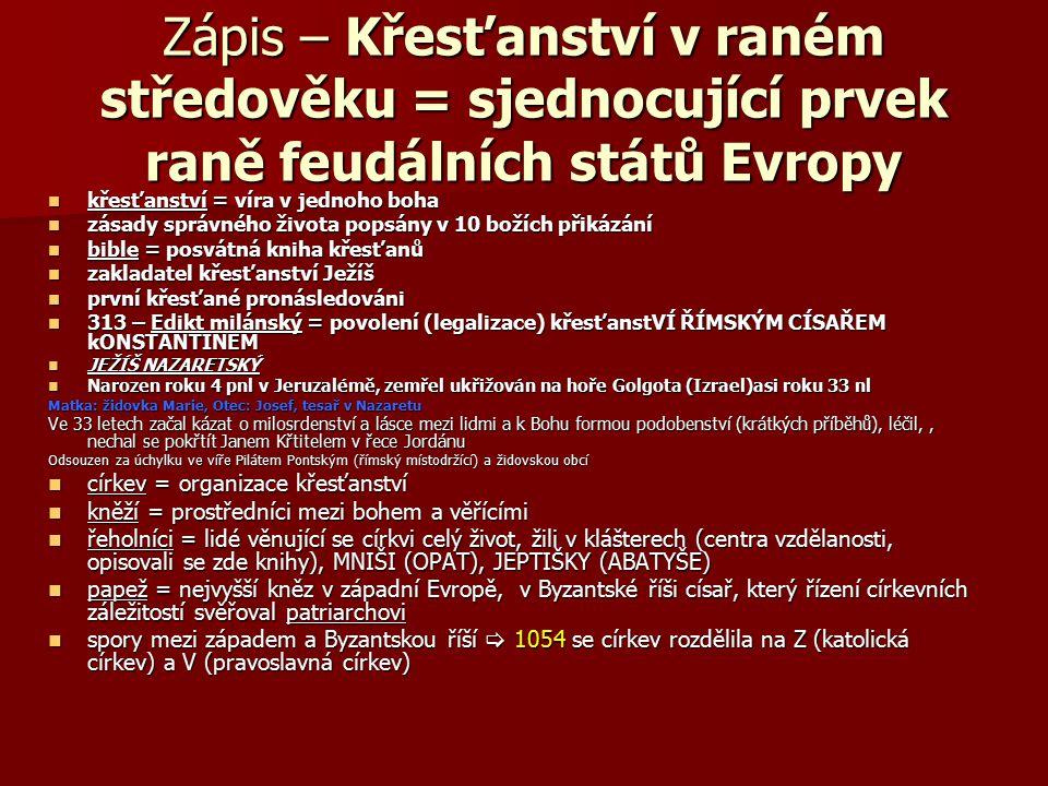 Zápis – Křesťanství v raném středověku = sjednocující prvek raně feudálních států Evropy