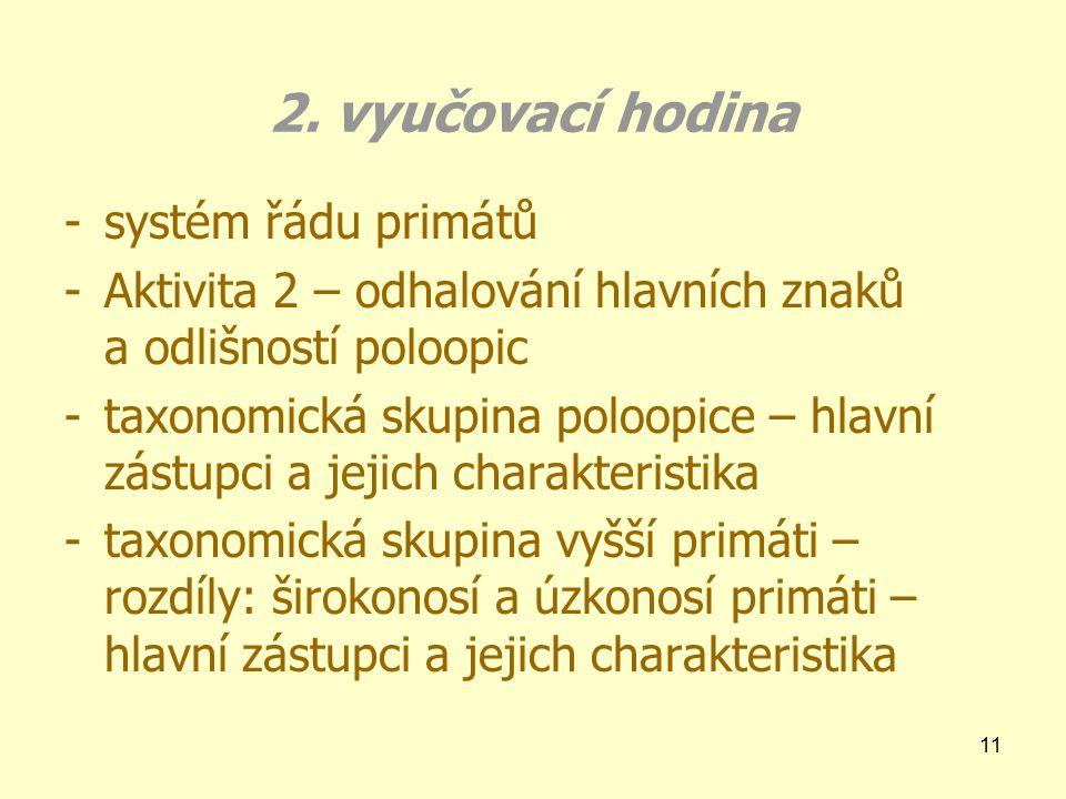 2. vyučovací hodina systém řádu primátů