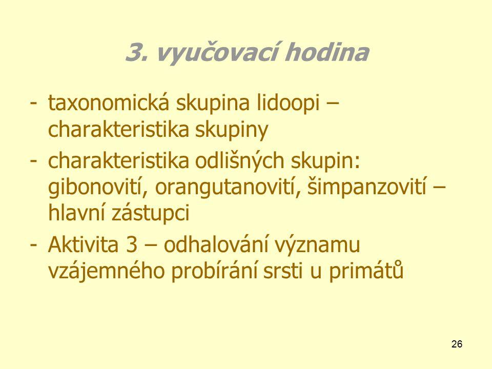 3. vyučovací hodina taxonomická skupina lidoopi – charakteristika skupiny.