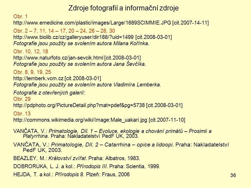 Zdroje fotografií a informační zdroje