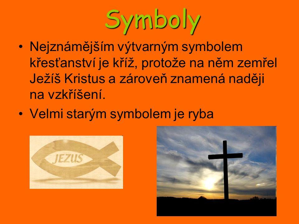 Symboly Nejznámějším výtvarným symbolem křesťanství je kříž, protože na něm zemřel Ježíš Kristus a zároveň znamená naději na vzkříšení.