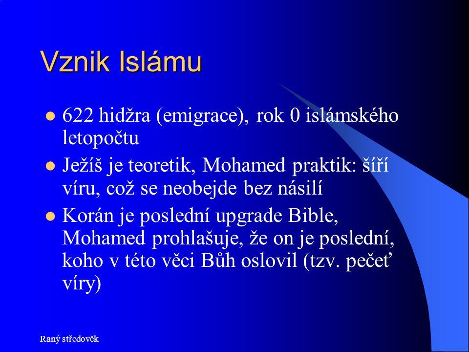 Vznik Islámu 622 hidžra (emigrace), rok 0 islámského letopočtu