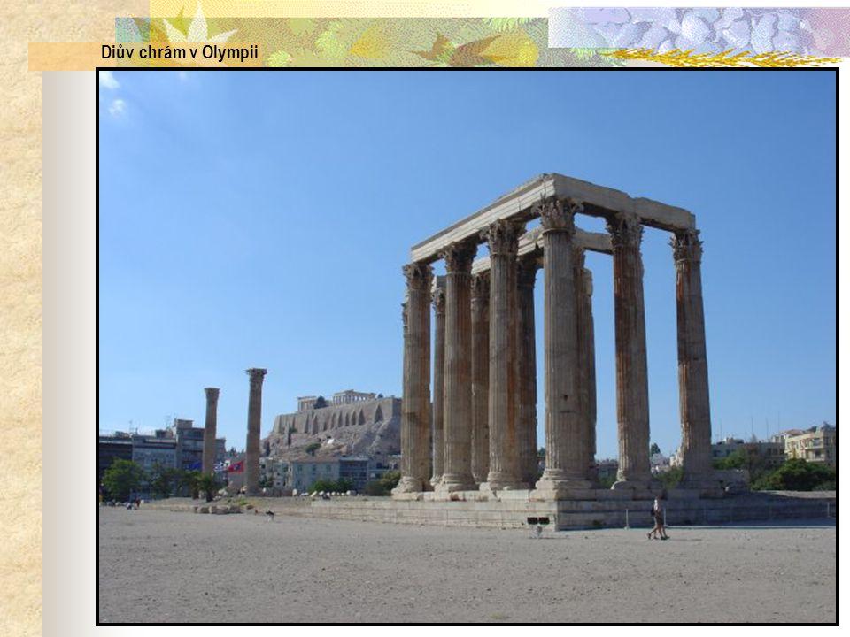 Diův chrám v Olympii Korintské sloupy…