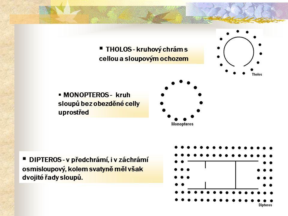 THOLOS - kruhový chrám s cellou a sloupovým ochozem
