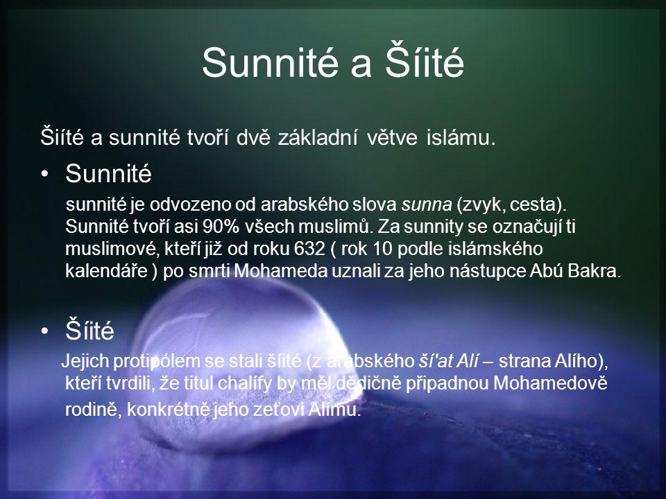 Sunnité a Šíité Sunnité Šíité