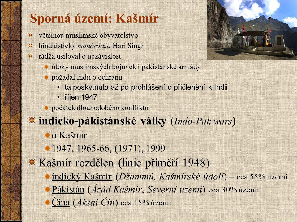Sporná území: Kašmír indicko-pákistánské války (Indo-Pak wars)