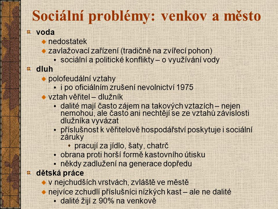 Sociální problémy: venkov a město
