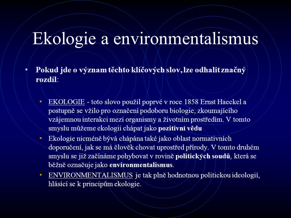 Ekologie a environmentalismus