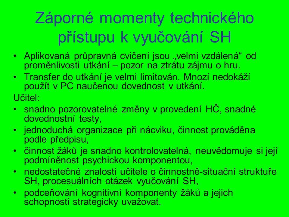 Záporné momenty technického přístupu k vyučování SH