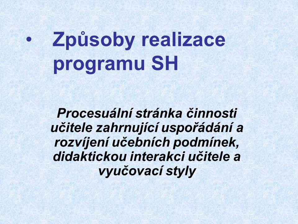 Způsoby realizace programu SH