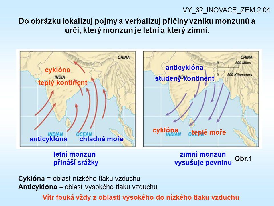 VY_32_INOVACE_ZEM.2.04 Do obrázku lokalizuj pojmy a verbalizuj příčiny vzniku monzunů a urči, který monzun je letní a který zimní.