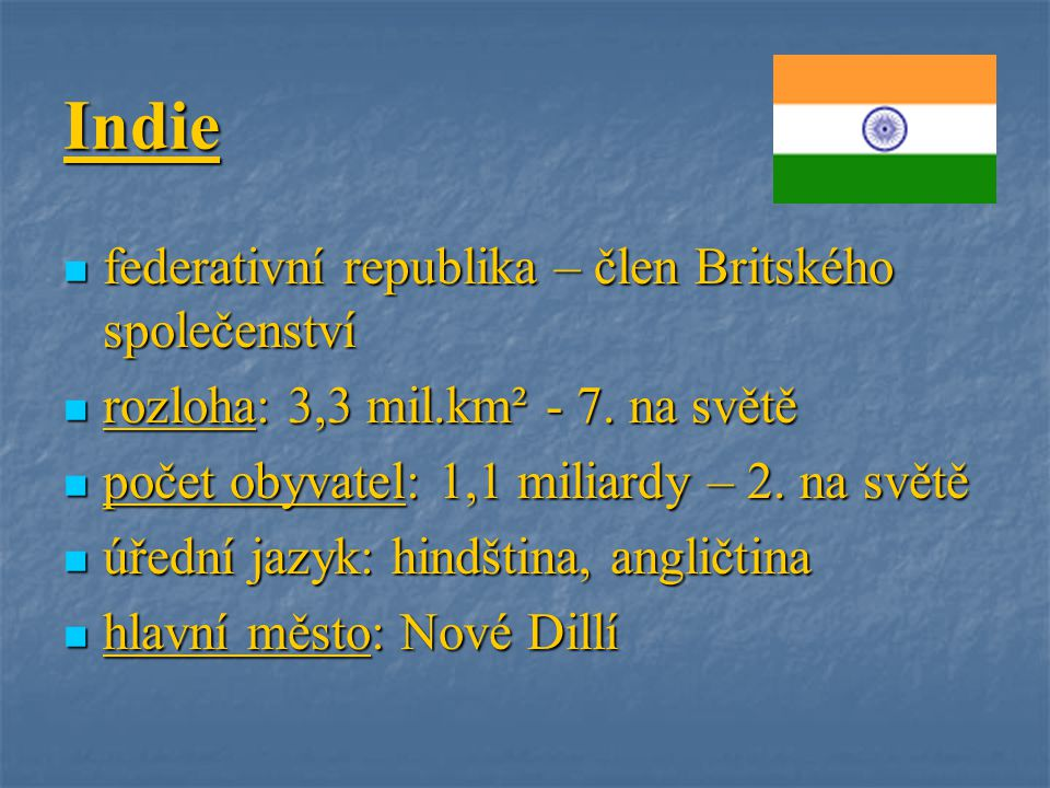 Indie federativní republika – člen Britského společenství