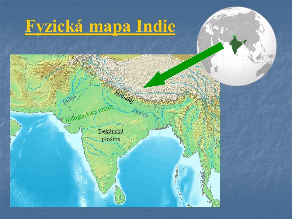 Fyzická mapa Indie Himaláj Indus Indoganžská nížina Ganga Dekánská