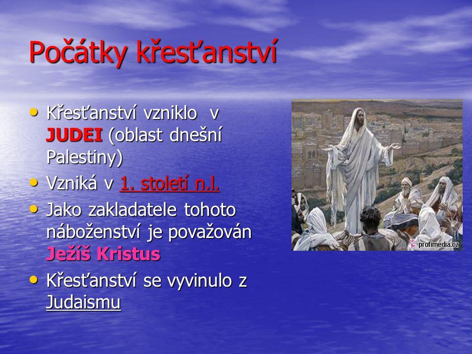 Počátky křesťanství Křesťanství vzniklo v JUDEI (oblast dnešní Palestiny) Vzniká v 1. století n.l.