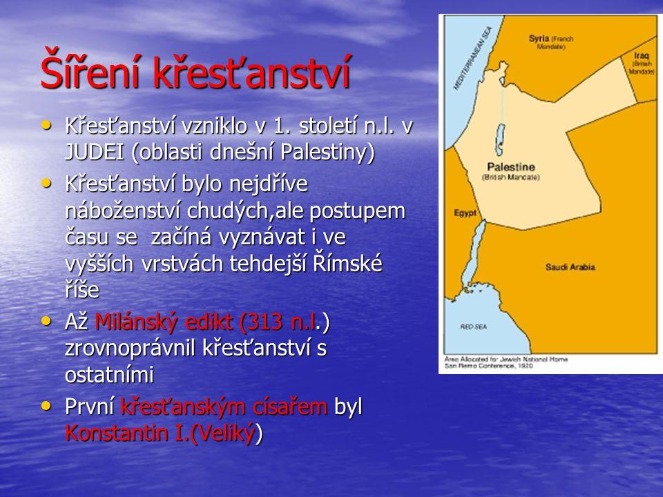 Šíření křesťanství Křesťanství vzniklo v 1. století n.l. v JUDEI (oblasti dnešní Palestiny)