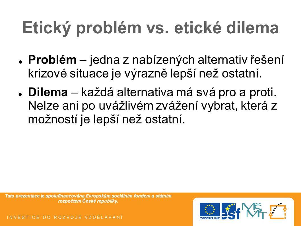 Etický problém vs. etické dilema