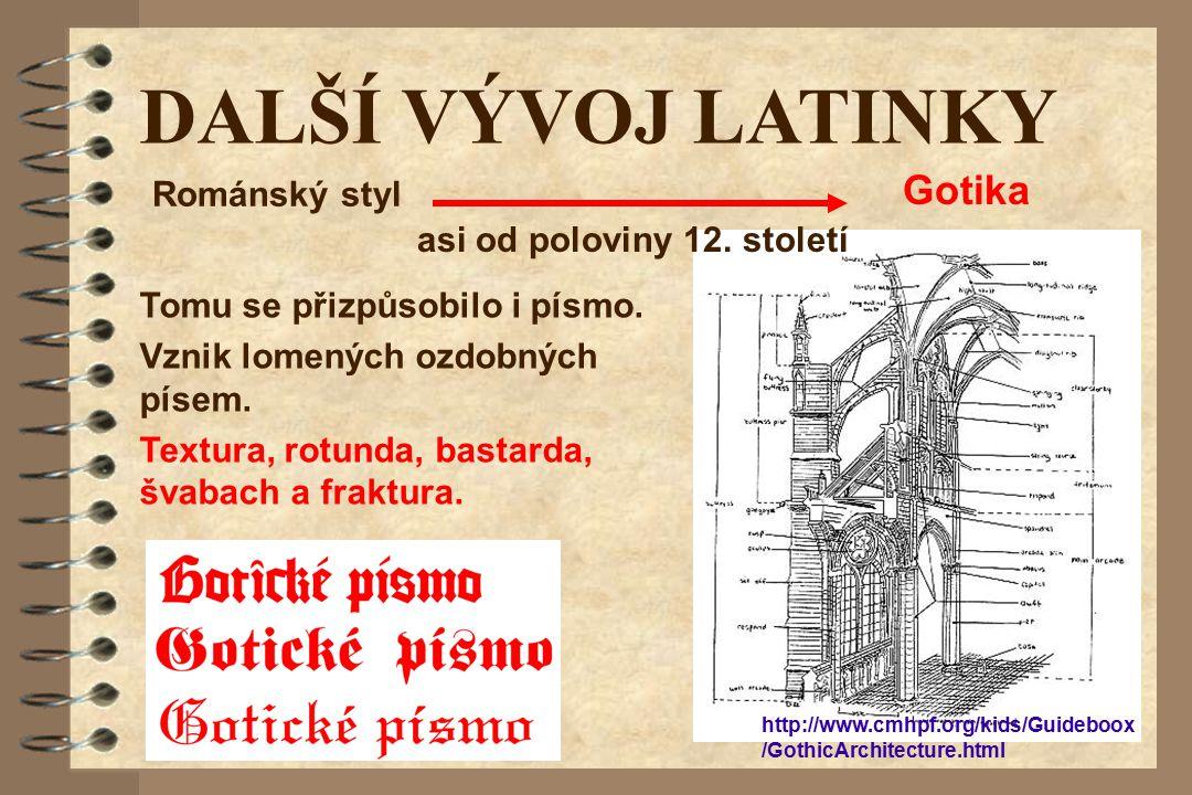 DALŠÍ VÝVOJ LATINKY Gotika Románský styl asi od poloviny 12. století