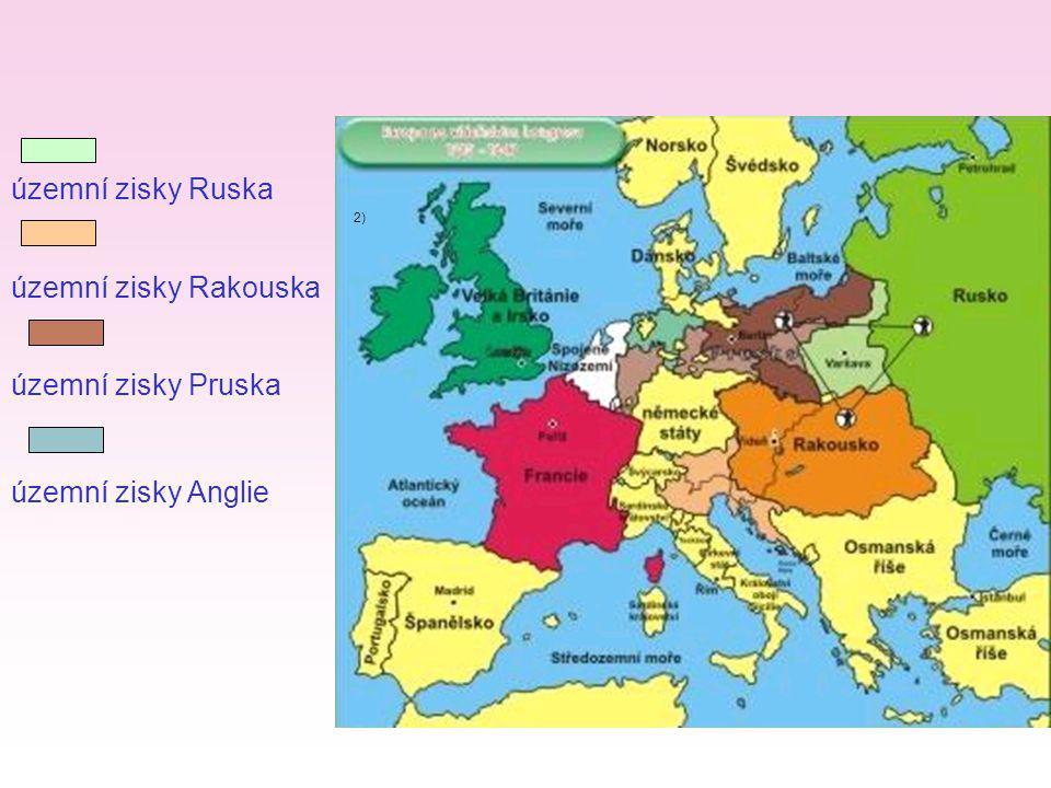 územní zisky Ruska územní zisky Rakouska územní zisky Pruska
