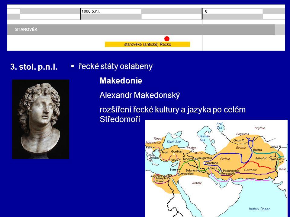 3. stol. p.n.l. řecké státy oslabeny. Makedonie.