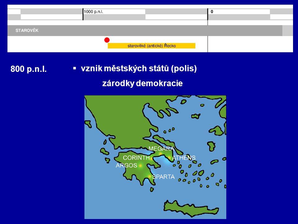 800 p.n.l. vznik městských států (polis) zárodky demokracie