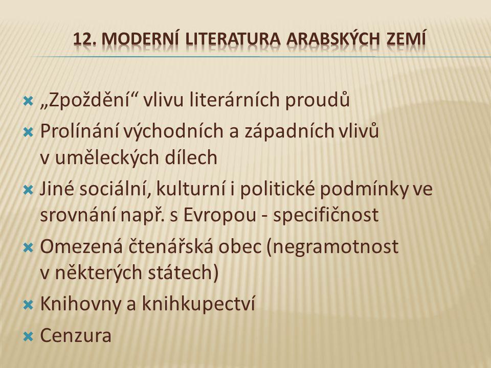 12. Moderní literatura arabských zemí