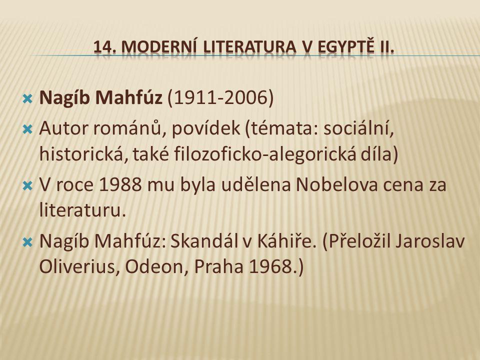 14. Moderní literatura v Egyptě II.