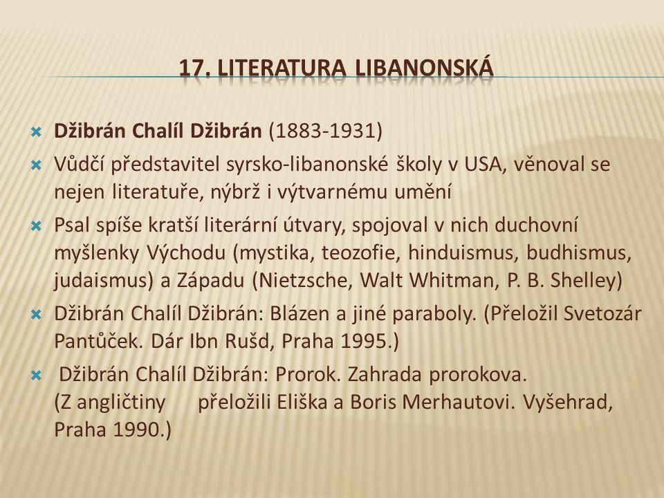 17. Literatura LibanonskÁ