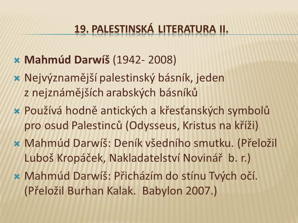 19. Palestinská literatura II.