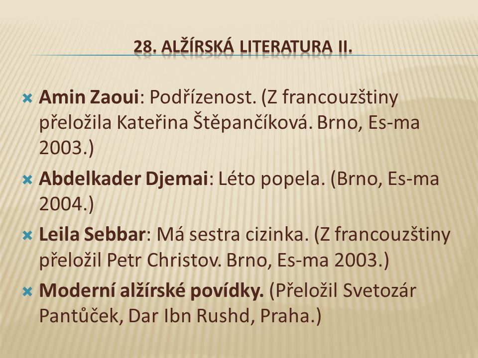 28. Alžírská literatura II.