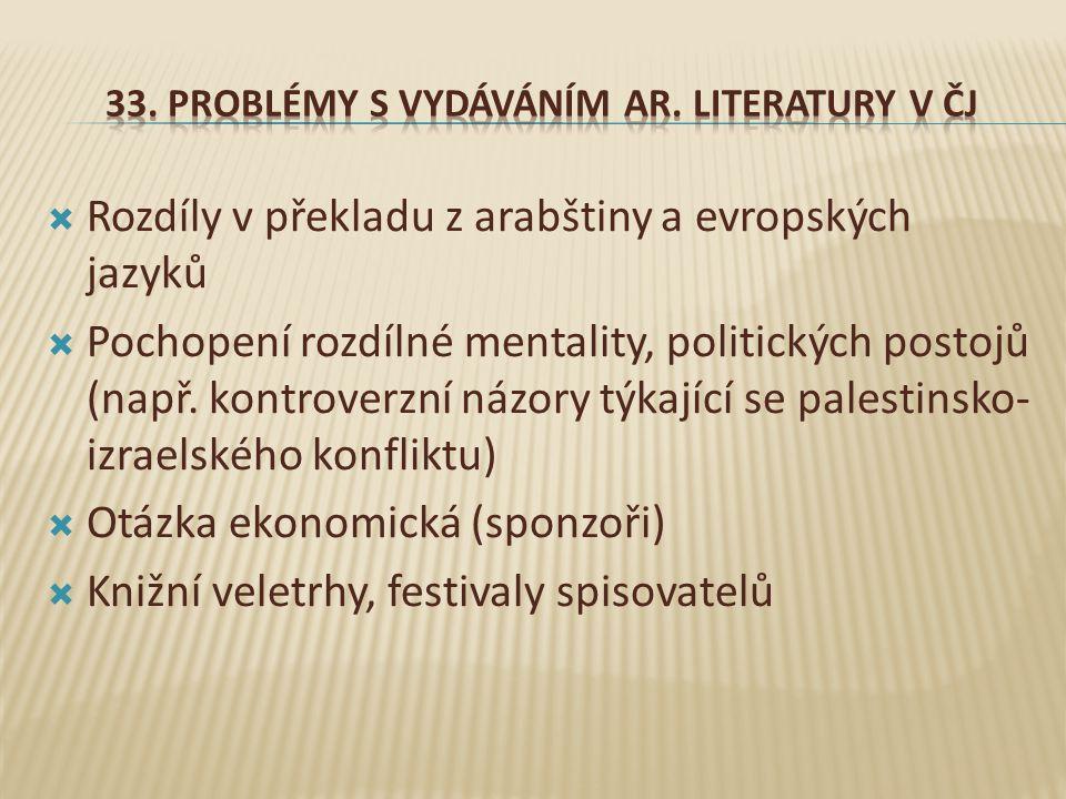 33. Problémy s vydáváním ar. Literatury V ČJ