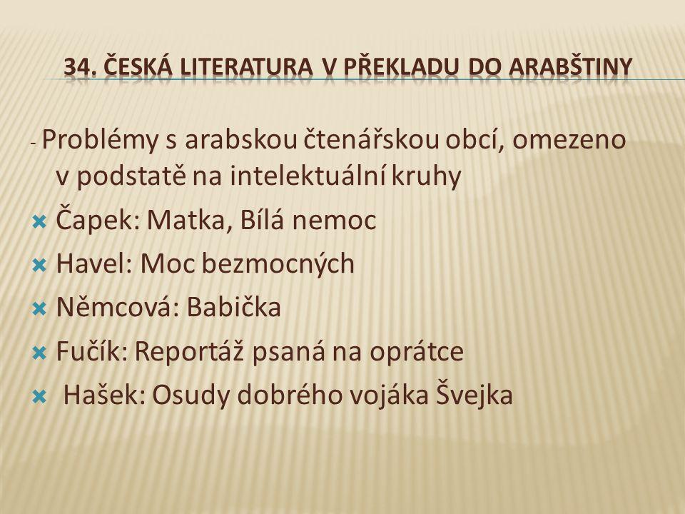 34. Česká literatura v překladu do arabštiny